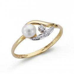 Sortija oro bicolor 18k bandas perla circonitas niña primera comunión