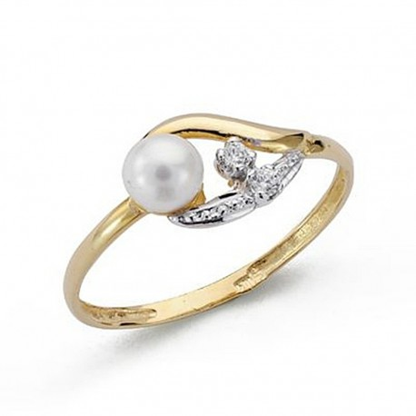 Sortija oro 18k bicolor perla circonitas comunión [9046S]