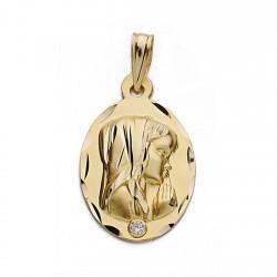 Medalla colgante oro 18k Virgen Niña 22mm. forma oval abajo circonita borde detalles tallados