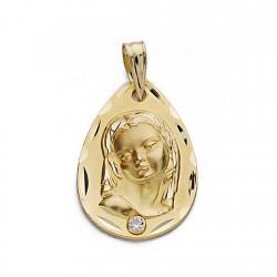 Medalla colgante oro 18k Virgen Niña 22mm. forma lágrima abajo circonita borde detalles tallados