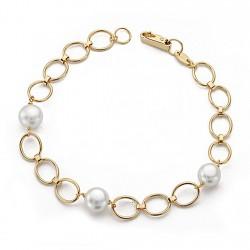 Pulsera oro 18k 18cm. perla comunión eslabón ovalado [9063]