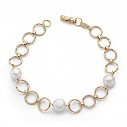 Pulsera oro 18k 18cm. perla comunión eslabón redondo [9064]