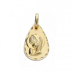Medalla oro 18k Virgen Niña 19mm. forma lágrima borde tallado