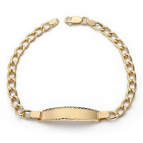 Esclava oro 18k cadena barbada 18,5cm. comunión [9079]