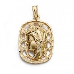 Medalla colgante oro 18k Virgen Niña 23mm. centro calada borde rectangular