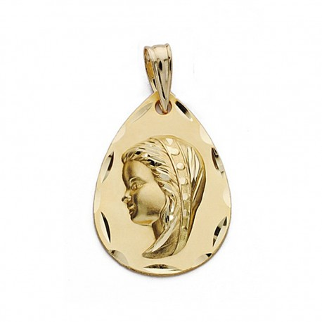 Medalla oro 18k Virgen Niña 21mm. biselada [9085]
