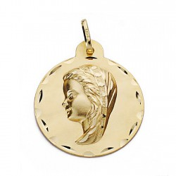 Medalla oro 18k Virgen Nina 24mm. biselada redonda [9090]