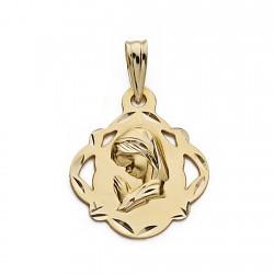 Medalla oro 18k Virgen Nina 19mm. pandereta calada borde tallado