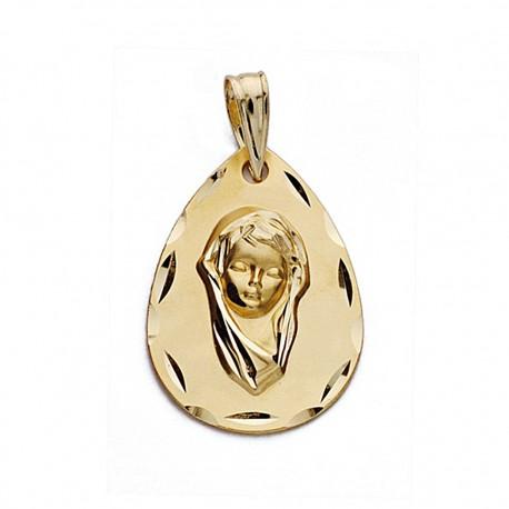 Medalla oro 18k Virgen Niña 21mm. lágrima biselada [9095]