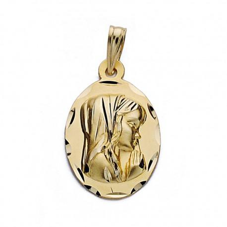 Medalla oro 18k Virgen Niña 19mm. ovalada [9096]