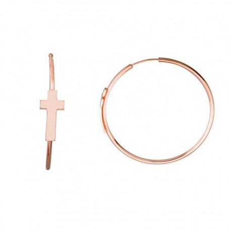 Pendientes plata ley 925m rosa aros 40mm. motivo cruz [9160]