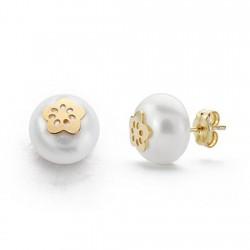 Pendientes oro 18k perla 9mm. cultivada botón 5 pétalos [9161]