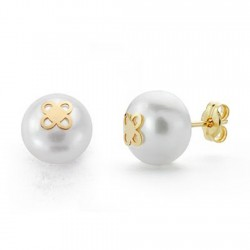 Pendientes oro 18k perla 9mm. cultivada botón 4 pétalos [9162]