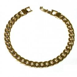 Pulsera chapada oro 19cm. barbada lapidada almendrada [2692]