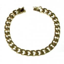 Pulsera chapada oro 22cm. barbada plana cuadrada [2723]