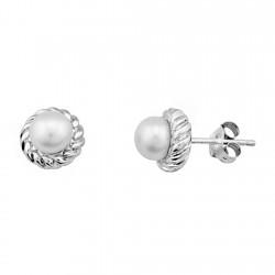 Pendientes plata ley 925m perla espiga circular brillante [9178]