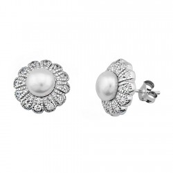 Pendientes plata ley 925m perla circonitas flor pétalos [9179]