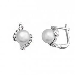 Pendientes plata ley 925m perla 8mm. circonitas 2 bandas [9185]