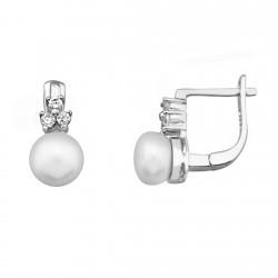 Pendientes plata ley 925m perla 7mm. circonita 6mm. cierre [9193]