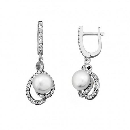 Pendientes plata 925 rodiada de plata con perla cultivada [9206]