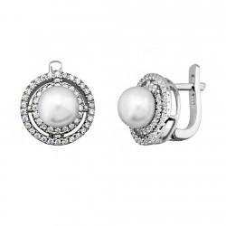 Pendientes plata 925 rodiada de plata con 2 orlas redondas [9207]