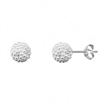 Pendientes plata 925 rodiada de plata bola multi perla [9214]