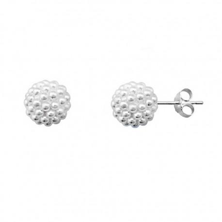 Pendientes plata 925 rodiada de plata bola multi perla [9215]