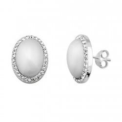 Pendientes plata ley 925m oval 12x16mm. perla sintética cierre presión mujer