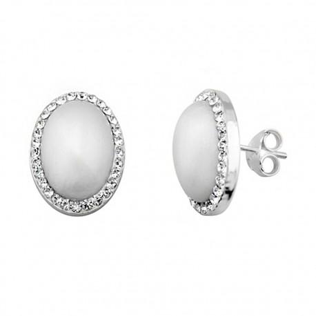 Pendientes plata 925 plateada oval 14x10mm. perla sintética [9217]