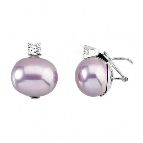 Pendientes plata ley 925m perla Shell 16x19mm. rosa garra [9249]