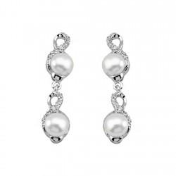 Pendientes plata ley 925m largo perla circonitas cierre [9251]