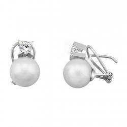 Pendientes plata de ley 925 circonita y perla cultivada [9292]