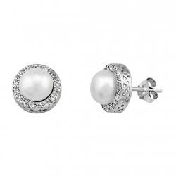 Pendientes plata de ley 925 de orla con circonita perla [9308]