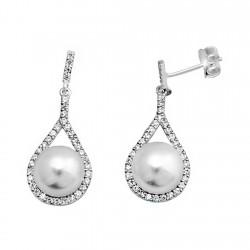 Pendientes plata ley 925m lágrima 27mm. perla botón cierre presión