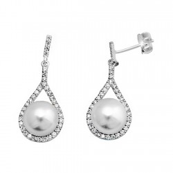 Pendientes plata ley 925m perla botón lágrima cierre presión [9316]