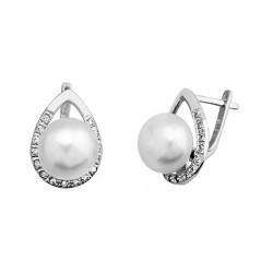 Pendientes plata ley 925m perla 10mm. circonita lágrima [9320]
