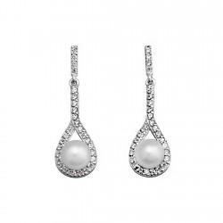 Pendientes plata ley 925m perla 5,5mm. circonita lágrima [9324]