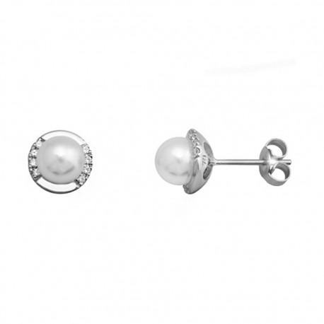 Pendientes plata 925 rodiada plata con casqilla y perla [9343]