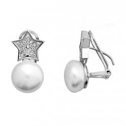 Pendientes plata 925 rodiada plata forma estrella [9356]