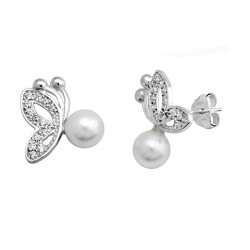 Pendientes plata 925. plateada mariposa perla shel 6mm [9367]