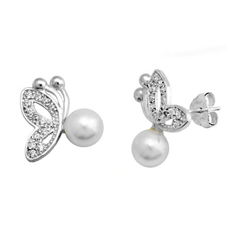 aa1e11a0185f Pendientes plata 925. plateada mariposa perla shel 6mm  9367
