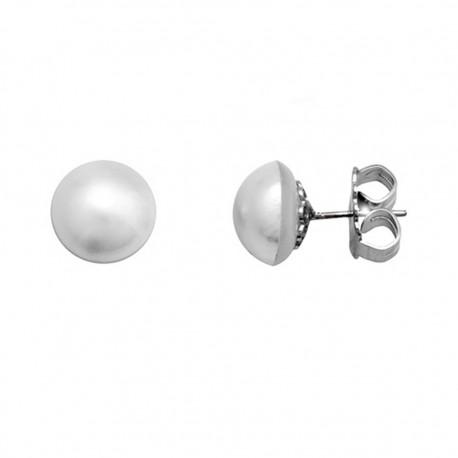 Pendientes plata 925 rodiada perla mabé cultivada 10-11 [9382]