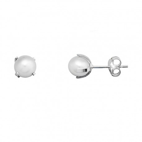 Pendientes plata 925 plateada patilla perla cultivada 6 [9384]