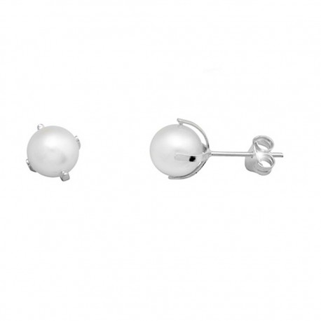 Pendientes plata 925 plateada patilla perla cultivada 7 [9385]