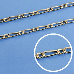 Cadena oro 18k eslabón 1x1 hueca 50cm. ancho 4 mm. 11.00 grs. [9542]