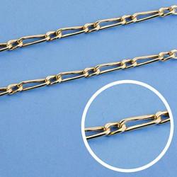 Cadena oro 18k eslabón 1x1 hueca 50cm. ancho 3 mm. 9.15 gr. [9558]