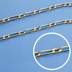 Cadena oro 18k eslabón 1x1 hueca 50cm. ancho 3 mm. 6.10 gr. [9559]