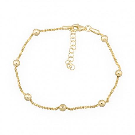 Pulsera plata Ley 925m amarilla cadena bolas [9687]