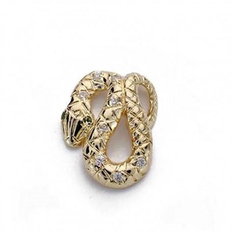 Colgante serpiente oro 18k circonitas 15mm. [AA0006]