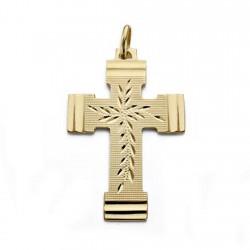 Colgante cruz oro 18k tallada 36mm. centro detalles brillo unisex